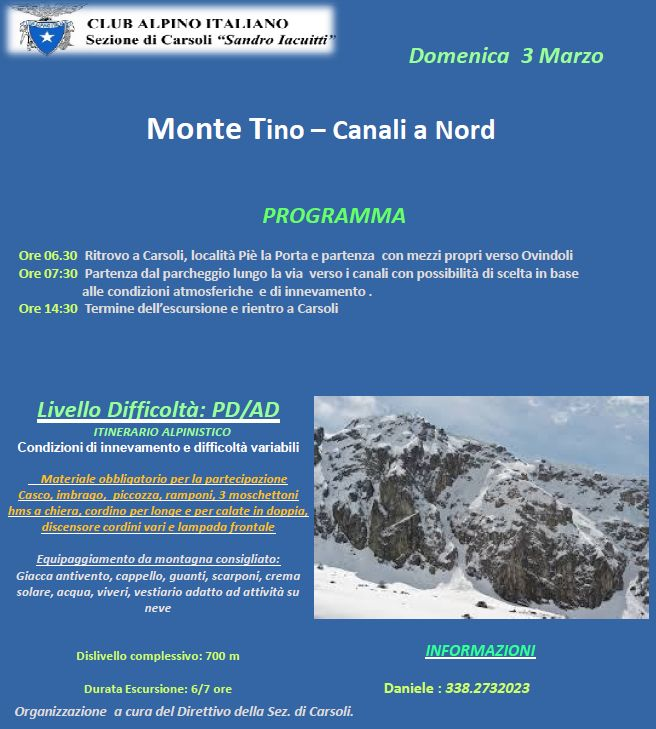 Monte Tino - Canali a Nord
